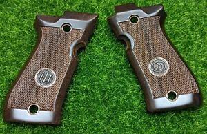 Beretta 84F Wood Grain Pistol Grips Checkered w/ Medallion - JG84FW
