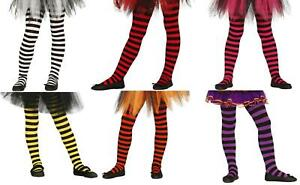Child Striped & Plain Witch Tights 5-9 Years Halloween Fancy Dress Costume Item