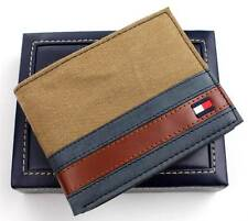 NEW TOMMY HILFIGER MEN'S CANVAS LEATHER CREDIT CARD WALLET BILLFOLD 4896-13