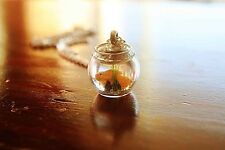 Yellow Goldfish in a bowl necklace