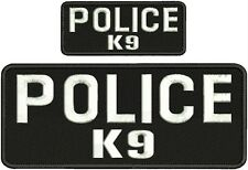 """POLICE K-9 embroidery patches  4x10 and 2x5"""" hook  white letters"""