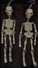 Huge Funky GRAY SKELETON EARRINGS Cool Gothic Punk Emo Halloween Costume Jewelry