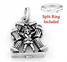 "SILVER ""HERCULES HOLDING PILLARS"" CHARM WITH SPLIT RING"