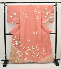 VINTAGE SILK WEDDING KIMONO:Homongi Pink Brown Cherry Blossom/Plum Blossom@K246