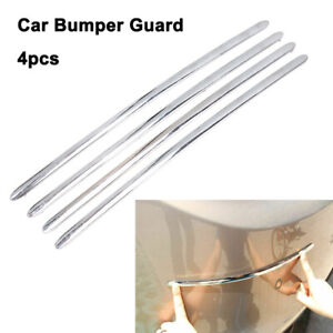4x Car Body Front Bumper Corner Guard Protector Anti-Rub Door Decor Strip Chrome
