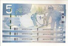 3 CONSECUTIVE 2010 $5 JENKINS-CARNEY HPP9751591-3 THE LAST PAPER MONEY NR!!