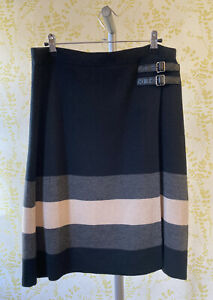 PHASE EIGHT knitted black grey & taupe wool blend wrap skirt UK 14 buckle detail