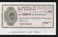 MINIASSEGNO BANCA DEL SALENTO LIRE 100 6 DICEMBRE 1976