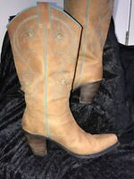 Wms FRANCO SARTO TULSA Tan Leather Cowboy Western Boot Sz 7.5M *Sold As Is*