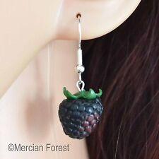 BlackBerry Crochet Boucles D'oreilles, Fait Main Argile Polymère, Summer fruits, nature, Kitsch