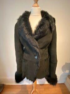 Gianfranco Ferre Black Short Thick Sheepskin Shearling Jacket Coat  L 12-14