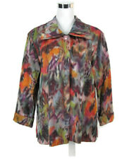 Caroline Rose Jacket Sz L Colorful Watercolor Blazer All Season Large Women NWOT