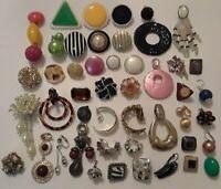 Lot of single clip on earrings. vintage screw back, plastic, metal, gems, beads