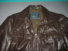 VTG Cooper THE FONZ STYLE Brown Leather Jacket Mens 38 IDEAL ZIPPER