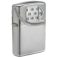 Zippo Armor High Polish Chrome Lighter, Unzipped, 2-Sided, Multi-Cut, 29674