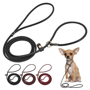 Genuine Leather Dog Show Slip Lead Puppy Small Dog P Lead Choke Training Lead