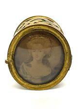 Antique Victorian Brass Pill Box—Portrait Engraving—Hinged—19th Century—Vintage
