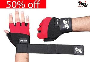 Gym Leather Gloves Weight Lifting Body Building Training Fitnes Strap S,M,L,XL