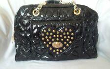 VTG BETSEYVILLE  Betsey Johnson Black Patent Puffer Quilted Hearts Satchel Bag