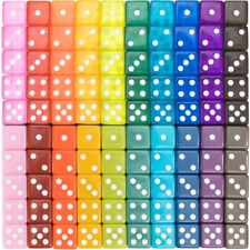 100pack Translucent Solid 6sided Game Dice 20 Sets of Vintage Colors 16mm Bo