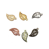 50/100PCS Hollow Tree Leaves Metal Alloy Charms Pendants DIY Necklace Jewelry