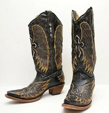 CORRAL A1967 Wings Silver Cross Distressed  Antiqued Black Leather Boots  Sz 7