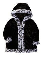 Pistachio Baby Girl's Reversible Jacket W/ Animal Print Faux Fur Trim, Black 18M
