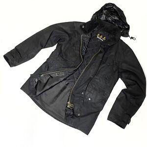 Men's Barbour Sapper Waxed Hooded Jacket Black Wax Coat Size S