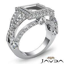 Princess Semi Mount 14k White Gold Diamond Engagement Halo Bezel Set 1.4Ct Ring