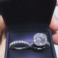 3.00 ct Diamond Engagement Ring Wedding Band Bridal Set Real 14k White Gold