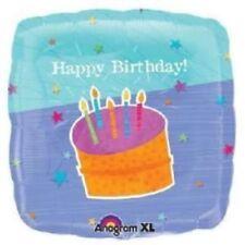 """Anagram HAPPY BIRTHDAY Cake Square Foil Helium Balloon 18"""" 45cm"""