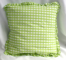 Pine Cone Hill Pillow Gingham Green White Check Decorative Down Feather 16 In