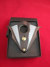 WENGE WOOD STAINLESS STEEL DOUBLE CUT BLADE CIGAR CUTTER WITH GIFT BOX COHIBA