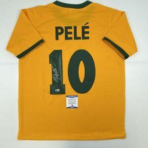 Autographed/Signed PELE Brazil Yellow Soccer Futbol Jersey Beckett BAS COA Auto