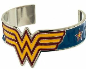 Wonder Woman Metal Cuff Bracelet with Classic WW Logo