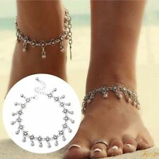 925 Sterling Silver Filled Gypsy Anklet Bauble Dangle Charm Long Chain Foot