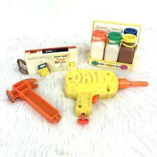 Vintage Fisher Price Toys Pocket Camera Milk Bottles Crate Tuff Stuff Drill