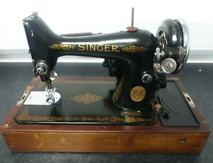 1947 Electric Singer 99k Sewing Machine Used With Box & Key Good Condition