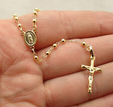 "26"" 3mm Ball Rosary Chain Medal Cross Crucifix Necklace Real 10K Yellow Gold"
