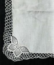 A12 Vintage Butterfly Crochet Hanky Hankies Bridal Wedding Baptismal