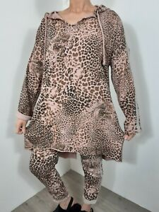 Lounge Wear 2 Pcs Hoodie Joggers Pink Leopard Print Comfy Stretchy Track Suit