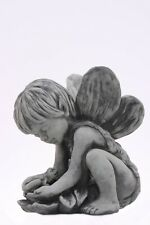 "Gartendeko Figur Skulptur Elfenkind ""Andin"" Engel Steinguss Steinfigur Vidroflor"