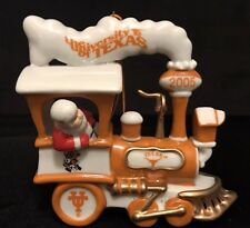 Danbury Mint Texas Longhorns Santa on Locomotive Orange White Christmas Ornament
