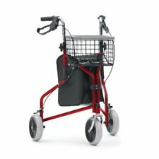 Livewell Steel Foldable Tri Walker With Bag and Basket 3 Wheels Mobility Aid