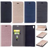 Wood Grain Wallet Leather Flip Case Cover For Sony L2 L1 XZ XZ1 XZ2 XA1 XA2 Plus