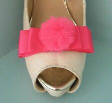 2 Cerise Pink Satin Bow Clips for Shoes with Tulle Pompom Centre