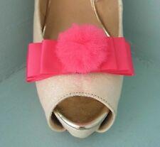 2 Rosso Ciliegia clip con fiocco in raso rosa per scarpe con tulle PON PON Centro