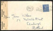 PREXY STAMP NEW JERSEY TO SCOTLAND WWII CENSORED COVER 1944