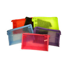 Cosmetic Bag Colorful Mesh School Supplies Pencil Case Women's Purse Five Styles