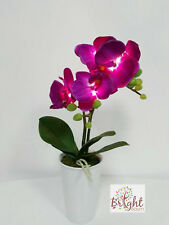 Purple Orchid LED Artificial Flower Bucket Vase Beautiful Gift Office Home Decor